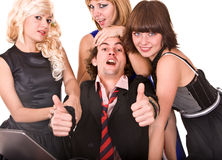 Group of people in costume with thumb up. Royalty Free Stock Photo