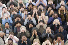 Group Of People Covering Eyes With Hands Royalty Free Stock Image