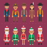 Group people cowboy sheriff santa claus gnome Stock Photos