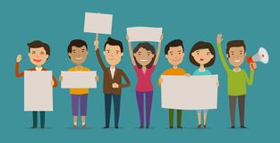 Group of people or crowd cheers carrying signs. Event, fan club, demonstration concept. Cartoon vector illustration. Group of people or crowd cheers carrying royalty free illustration