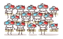 Group of people with 3D glasses vector illustration