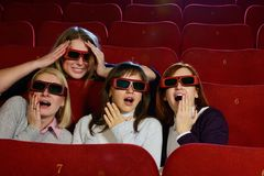 Group of people in 3D glasses Stock Images
