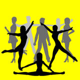 Group of people - dancers. Silhouettes of people dancing - yellow background- additional ai and eps format available on request Royalty Free Stock Photo