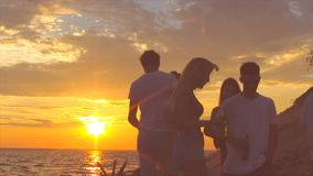 Beach party dancing. stock footage