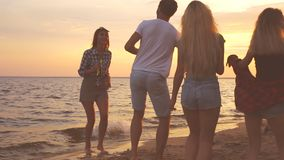 Beach party dancing. stock video footage