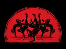 Group of people dancing, Dancer action, Street dance team, Hip hop or B boy dance graphic vector. Group of people dancing, Dancer action, Street dance team, Hip Stock Photos