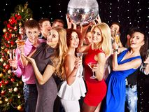 Group people dancing at party. Group people with  champagne dancing at Christmas party Stock Photography