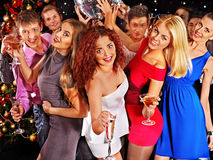 Group people dancing at party. Stock Photos