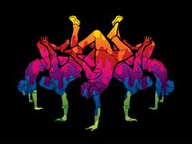 Group of people dancing, Street dance action, Dance together graphic vector. vector illustration