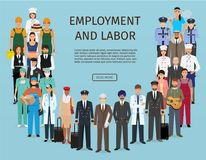 Group of people with different occupation. Employment and labor day banner. Employee characters standing together. Stock Photos