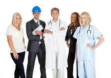 Group of people in different occupations on white Royalty Free Stock Photo