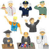 A group of people of different professions in different situatio Royalty Free Stock Photos