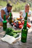 Group Of People Dining Togetherness Concept. Best friends are drinking tasty beer on a summer picnic. Stock Photos
