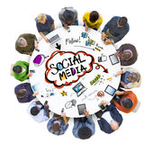 Group of People Discussing Social Media Royalty Free Stock Photo