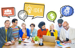 Group of People Discussing With Speech Bubbles stock photos