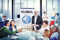 Group of People Discussion with Global Concepts Stock Image