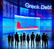 Group of People Discussion about Greek Debt Crisis Stock Image