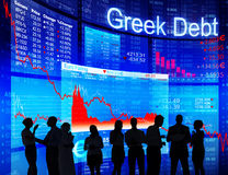 Group of People Discussion about Greek Debt Crisis Stock Photo