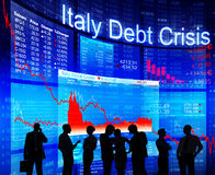 Group of People Discussion about Italy Debt Crisis Stock Photo