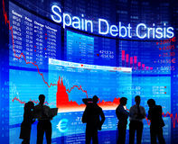 Group of People Discussion about Spain Debt Crisis Royalty Free Stock Photo