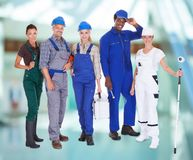 Group of people with diverse professions Royalty Free Stock Photos