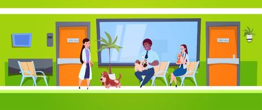 Group Of People With Dogs Sitting In Waiting Room In Vet Clinic Veterinary Medicine Concept. Flat Vector Illustration Royalty Free Stock Image