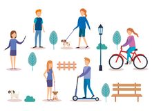 Group of people doing activities vector illustration