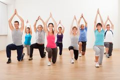 Group of people doing aerobics exercises Royalty Free Stock Photos