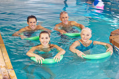 Group of people doing aqua fitness class Stock Image