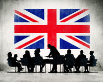 Group of people doing business with UK Stock Photo