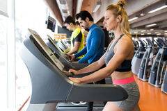 Group of people doing cardio training in gym. Stock Images