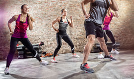 Group of people doing exercise with music. Group of young people doing exercise with music stock photography