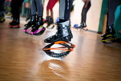 Group of people doing exercises with  kangoo shoes Royalty Free Stock Image
