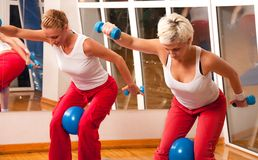 Group of people doing fitness exercise Royalty Free Stock Images