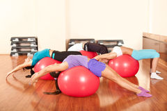 Group of people doing fitness exercises royalty free stock image