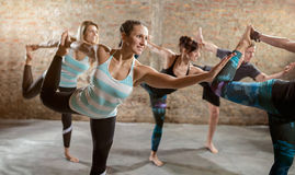 Group of people doing stretching exercise royalty free stock image