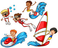A group of people doing watersports Royalty Free Stock Photos