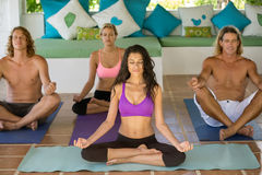 Group of people doing yoga Royalty Free Stock Images