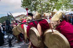Group of people dressed as Spartans Stock Image