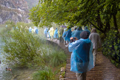 A group of people dressed in multicolor raincoats standing in the lane in the rain. Royalty Free Stock Photography