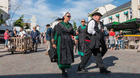 Group of people dressed in period clothes. Challans, France - August 11, 2016 : event Once Challans Autrefois Challans organized by the city and plunges visitors Stock Photo