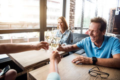 Group of people drinking alcohol Stock Photo