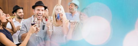 Group of people drinking alcohol and partying wide shot. Digital composite of Group of people drinking alcohol and partying wide shot Royalty Free Stock Photos