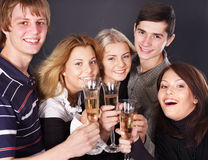 Group people drinking champagne. Royalty Free Stock Photo