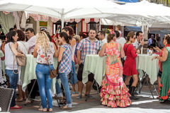 Group of people drinking in a flamenco festival in Fuengirola Sp Royalty Free Stock Photos