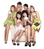 Group of people eat cake. Isolated royalty free stock images