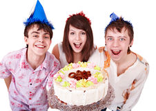 Group people eat cake. Stock Images
