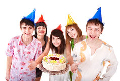 Group people eat cake. Royalty Free Stock Photos