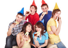 Group people eat cake. Isolated stock photos