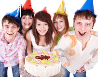 Group people eat cake. royalty free stock images